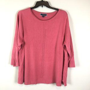 Karen Scott Lux Crew Pink Rolled Neck Sweater